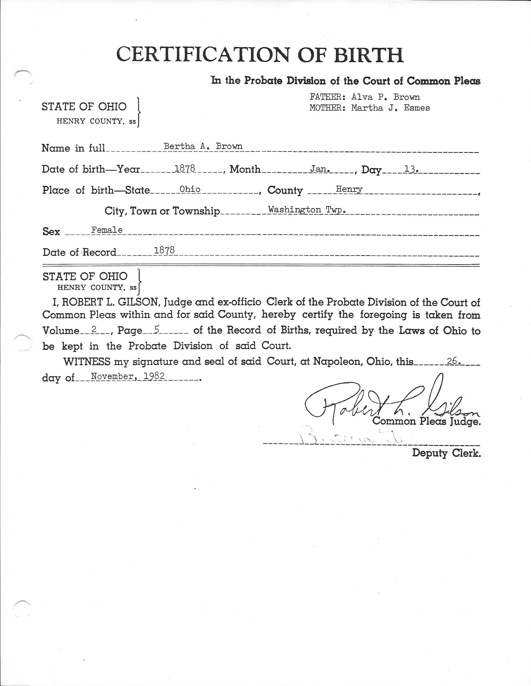 Birth marriage and death certificates related to the william birth certificate of bertha brown 1betcityfo Images