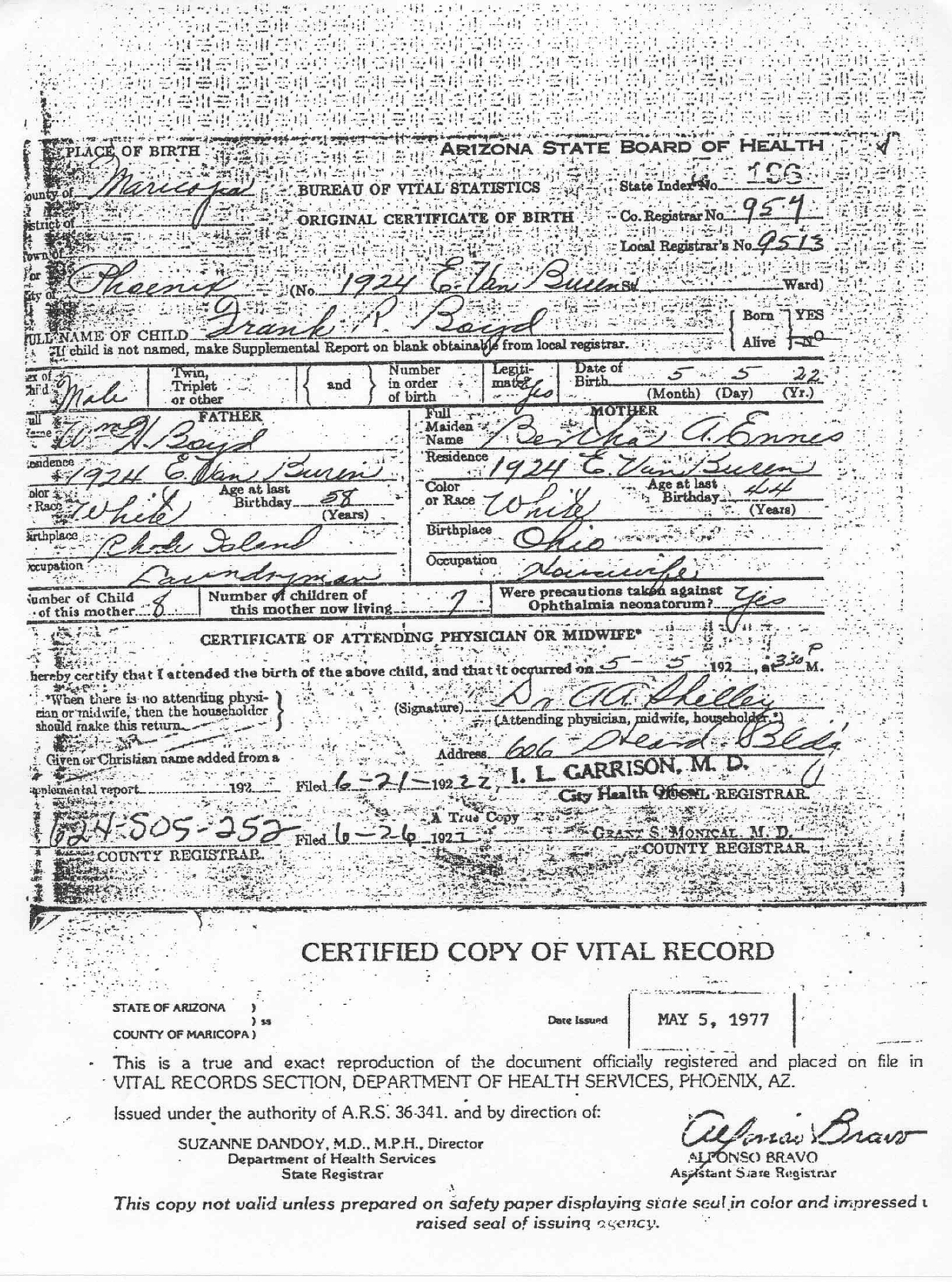 Birth marriage and death certificates related to the william birth certificate of frank boyd 1betcityfo Images