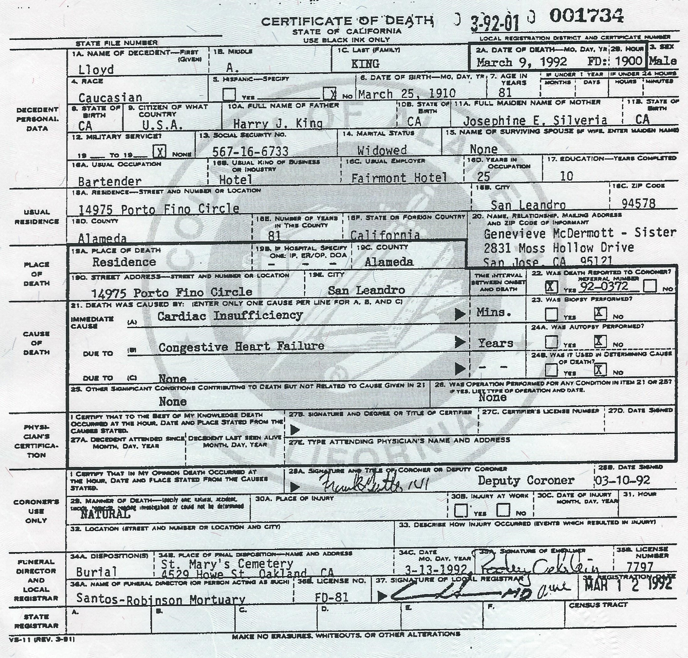 Birth Marriage And Death Certificates Related To The William Henry