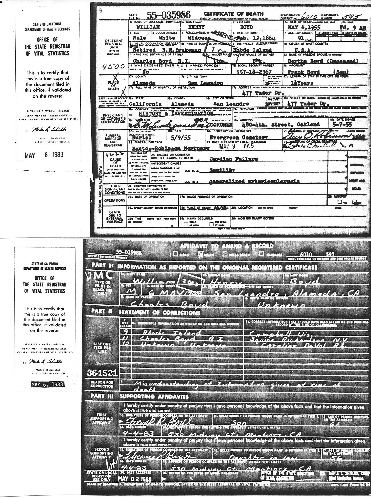 birth  marriage  and death certificates related to the